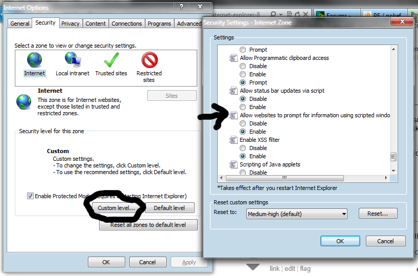IE prompt setting